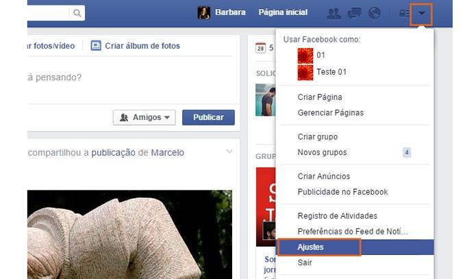Acesse os ajustes do Facebook (Foto: Reprodução/Barbara Mannara)