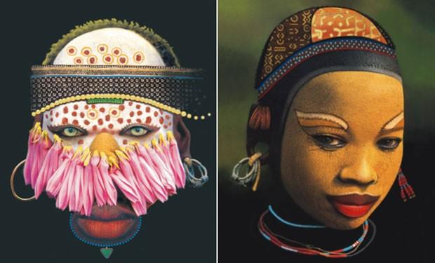 Máscaras de origem afro-brasileira serão coladas nos pilares do Minhocão (Foto: Divulgação/Scretaria Municipal da Cultura)
