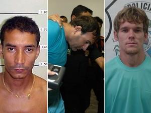 Três dos detentos: Gutemberg Jesus de Oliveira, o Bequinha; Gilmar Binda, o Alemão; e Robson Ribeiro Sobrinho, o Robinho Santa Rita (Foto: Arquivo/Jornal A Gazeta)