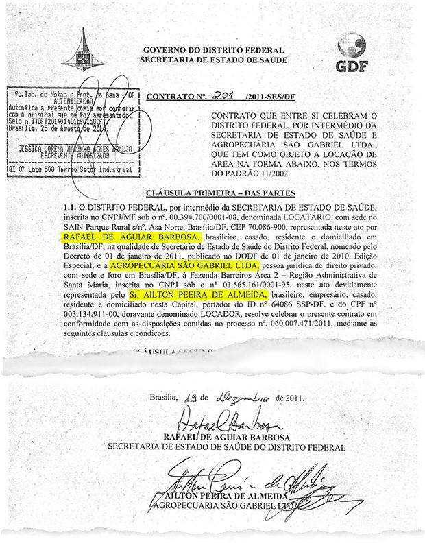 Ex-secretário de saúde do DF Rafael Barbosa aluga galpões da Agropecuária São Gabriel Ltda em 2011. Ministério Público investiga se doações da empresa para candidaturas do PT foram pagas no caixa dois (Foto: Reprodução)