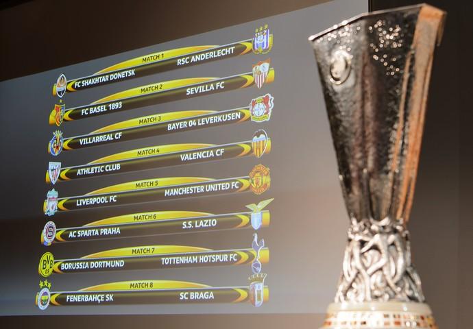 Chaves das oitavas de final da Liga Europa (Foto: Jean-Christophe Bott/Keystone via AP)