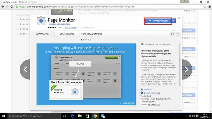 Chrome tem extensão que pode monitorar alterações em páginas durante a Black Friday (Foto: Reprodução/Elson de Souza)