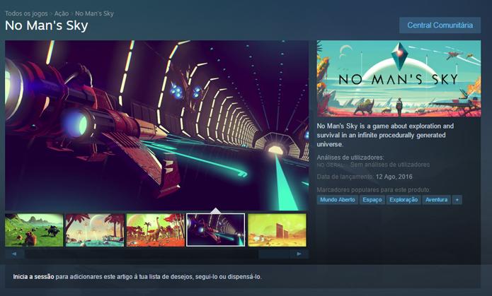 Página de No Mans Sky no Steam (Foto: Reprodução/André Mello)