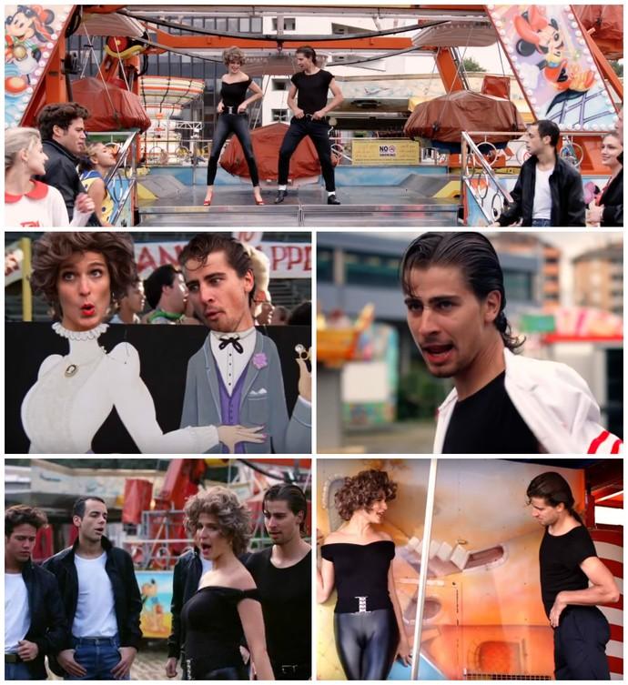 Peter Sagan e a esposa em paródia de Grease, filme estrelado por John Travolta (Foto: Reprodução)