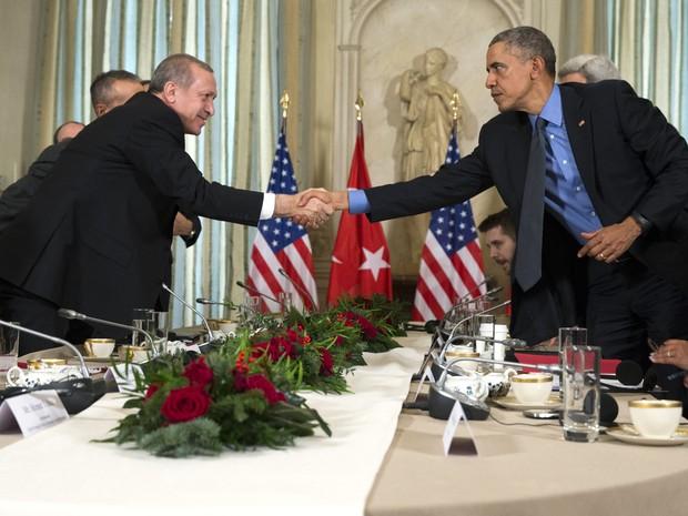 O presidente dos EUA, Barack Obama, cumprimenta o presidente turco, Recep Erdogan, durante encontro bilateral em Paris nesta terça-feira (1º) (Foto: Evan Vucci/AP)
