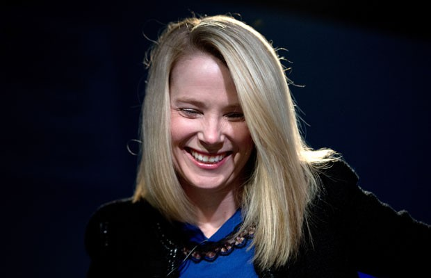 Marissa Mayer, presidente-executiva do Yahoo, sorri durante entrevista no Fórum Econômico Mundial em Davos (Foto: Johannes Eisele/AFP)