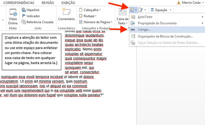 Acessando as opções de campo do Microsoft Word (Foto: Reprodução/Marvin Costa)