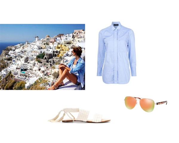 Santorini: camisa By Marlene Birger; sandália Schutz; óculos Michael Kors  (Foto: Instagram)