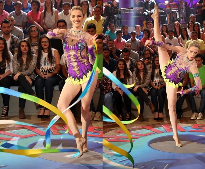 Natália Gaudio faz uma apresentação de ginástica rítmica no Altas Horas (Foto: Carol Caminha/Gshow)