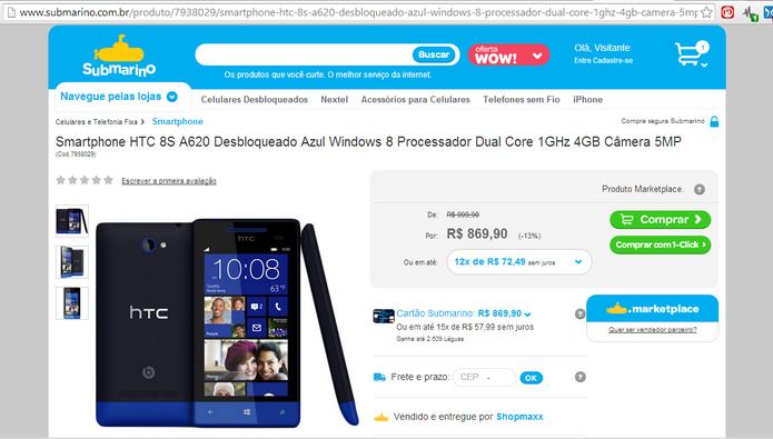 HTC 8S, com Windows Phone 8, era outro modelo não disponível no Brasil anunciado pela Submarino e Shopmaxx (Foto: Reprodução/Elson de Souza)