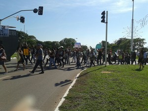 Servidores realizam protesto em Palmas (Foto: Divulgação/Seet)