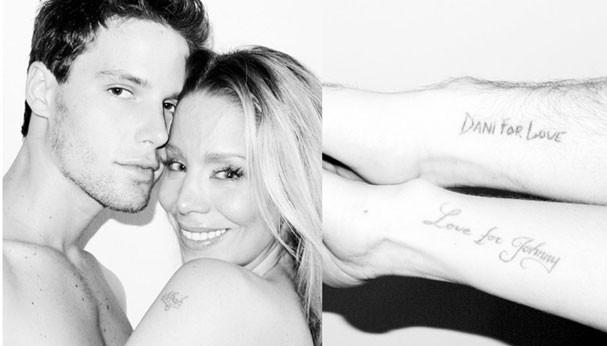 Após se separarem, Jonatas Faro e Danielle Winits removeram as tatuagens românticas (Foto: Terry Richardson/Divulgação)