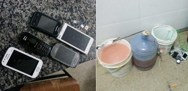 Além dos celulares, agentes encontraram até um alambique artesanal em poder dos presos (Foto: Divulgação/Sejuc)