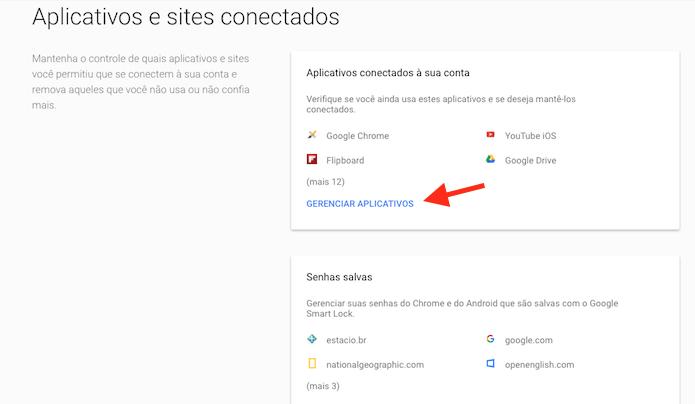 Acessando a página de gerenciamento de aplicativos e serviços conectados a uma conta do Google (Foto: Reprodução/Marvin Costa)