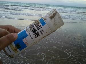 Lixo-plástico estrangeiro também pode ser achado em praias alagoanas (Foto: Waldson Costa / G1)