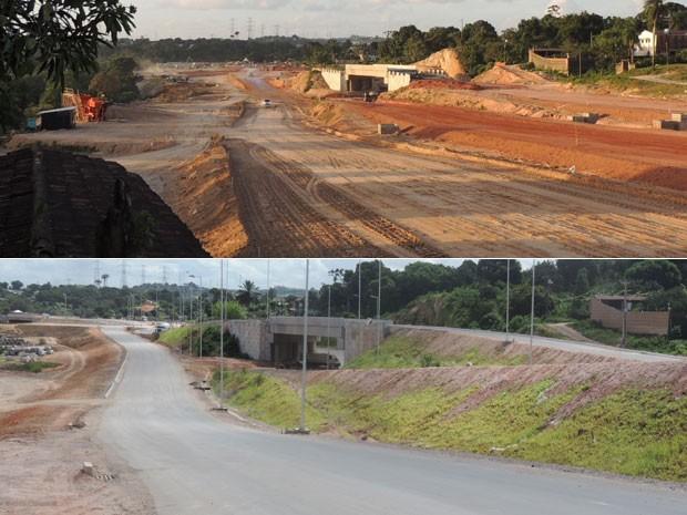 Ramal interno da copa: abaixo, a foto atual; acima, imagem feita seis meses antes (Foto: Luna Markman e Vitor Tavares/G1)