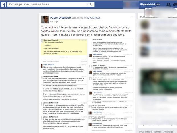 Capitão procurou professor e começou a trocar mensagens com ele pelo Facebook (Foto: Reprodução / Facebook)