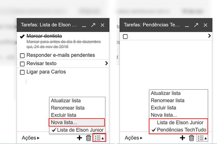 Usuário pode criar novas listas de atividades no Gmail (Foto: Reprodução/Elson de Souza)