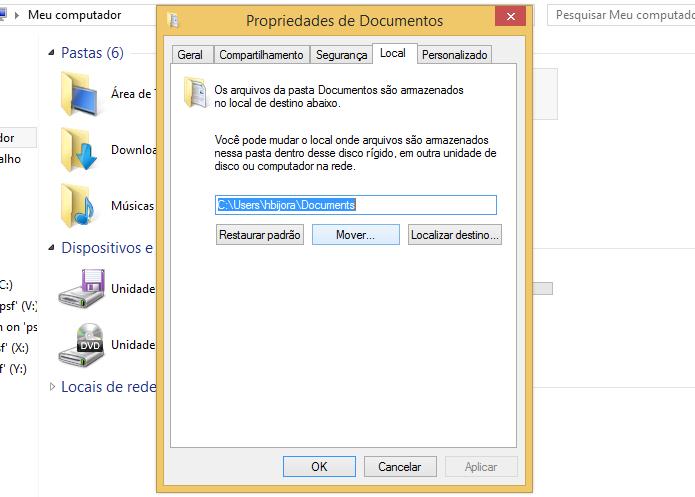 Alterando localização da pasta Documentos (Foto: Reprodução/Helito Bijora)