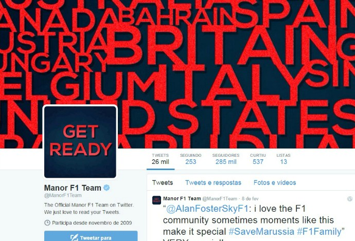 "Marussia trocou nome para Manor no Twitter: ""Esteja pronto"" (Foto: Reprodução/Twitter)"