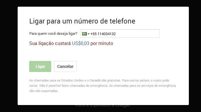 Hangouts abre em popup e pede a confirmação do país para efetuar chamada (Foto: Reprodução/Paulo Alves)