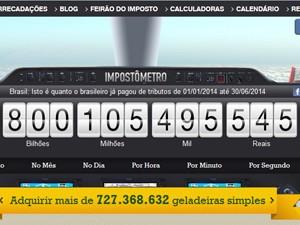 Impostômetro bate R$ 800 bilhões (Foto: Reprodução/ACSP)