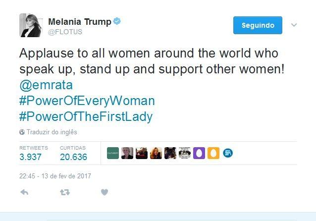 Melania Trump no Twitter (Foto: Reprodução)