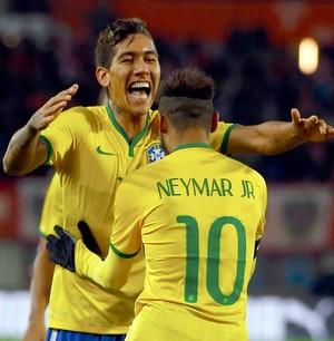 Firmino comemora gol do Brasil contra a Austria (Foto: Agência Reutes)
