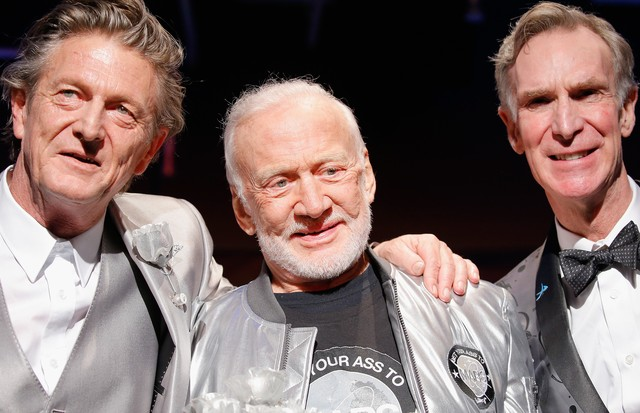Nick Graham, Buzz Aldrin e Bill Nye (Foto: Getty Images)