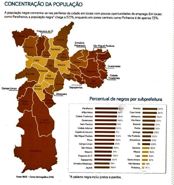 Mapa da concentração da população negra em São Paulo (Foto: Divulgação)
