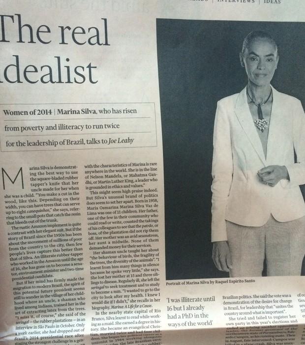 Marina Silva é eleita 'mulher do ano' por jornal britânico (Foto: reprodução)
