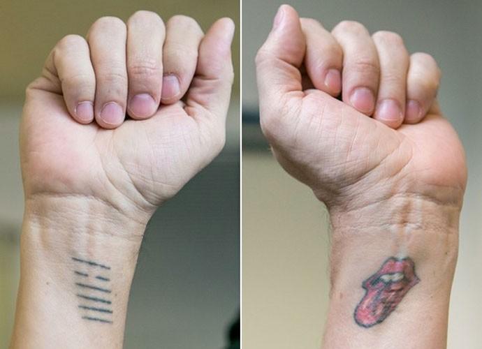 Vocalista do RPM mostra tatuagem do hexagrama do I Ching e símbolo dos Rolling Stones (Foto: Isabella Pinheiro/Gshow)