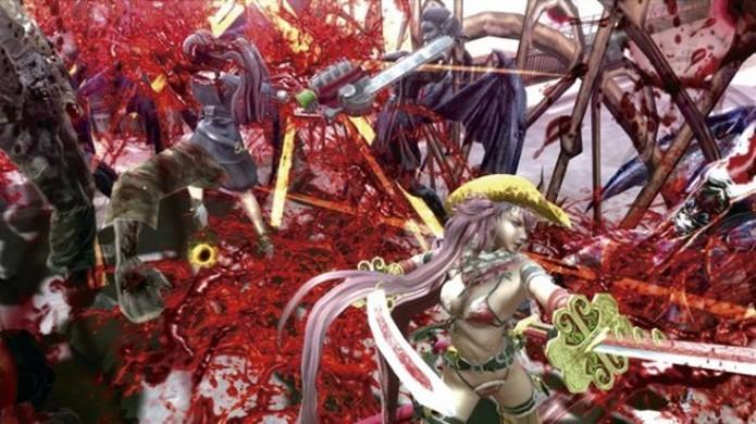Algumas vezes há tanta coisa na tela de Onechanbara Z2: Chaos que se torna impossível escapar de golpes (Foto: Reprodução/Castlevania Dungeon)