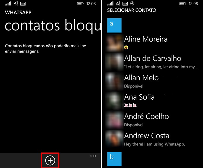 Escolha contato que deseja bloquear no novo WhatsApp para Windows Phone (Foto: Reprodução/Elson de Souza)