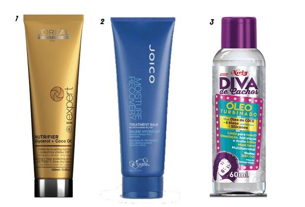 1. Creme Nutritivo Nutrifier, L'Oréal Professionnel. 2. Moisture Mask Treatment, Joico. 3.Óleo Turbinado Diva de Cachos, Niely (Foto: Divulgação)