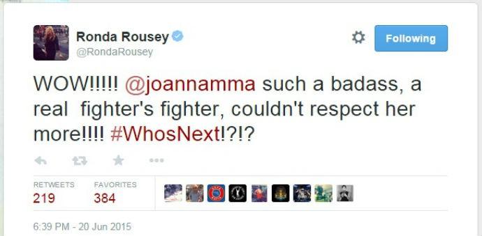 Twitter Ronda Rousey Joanna Jedrzejczyk