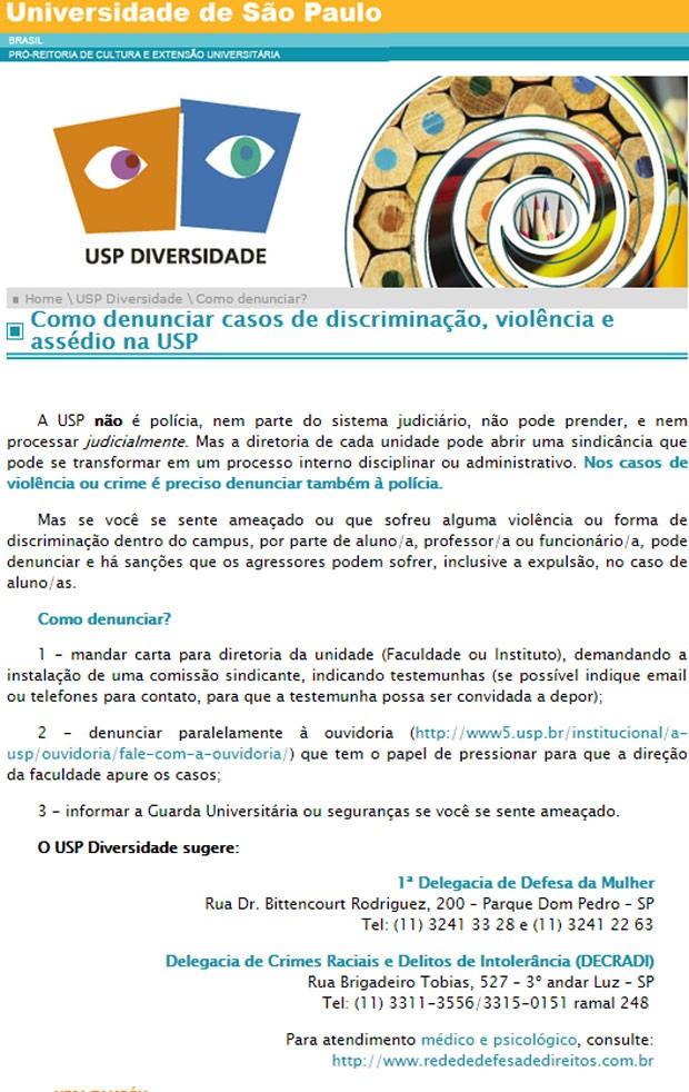 USP Diversidade divulga cartilha com dicas para denunciar casos de abusos (Foto: Reprodução/USP Diversidade)