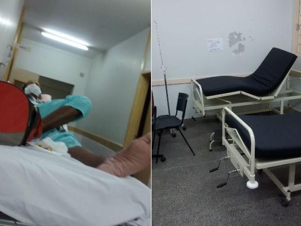 Imagens mostram leitos vazios e pacientes nos corredores do hospital de Sobradinho, no DF (Foto: Arquivo pessoal)