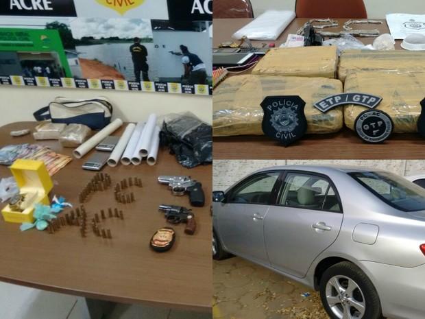Drogas, armas, munições, celulares e carro foram apreendidos durante a Operação Impactus (Foto: Divulgação/Polícia Civil)