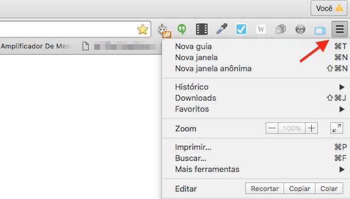 Acessando as opções do Google Chrome (Foto: Reprodução/Marvin Costa)