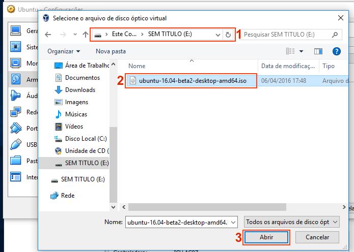 Selecionando a imagem ISO do Ubuntu para usar na máquina virtual (Foto: Reprodução/Edivaldo Brito)