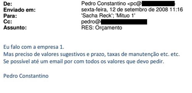 Trecho de e-mail de Pedro Constantino sobre edital de Uberlândia (Foto: Reprodução)