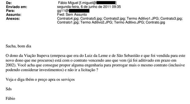 E-mail de Fábio Miguel para Sacha Reck sobre edital em São Sebastião (Foto: Reprodução)
