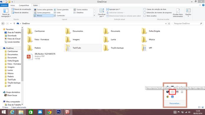 OneDrive para desktop exibe ícone de progresso na barra de notificações do sistema (Foto: Reprodução/Elson de Souza)