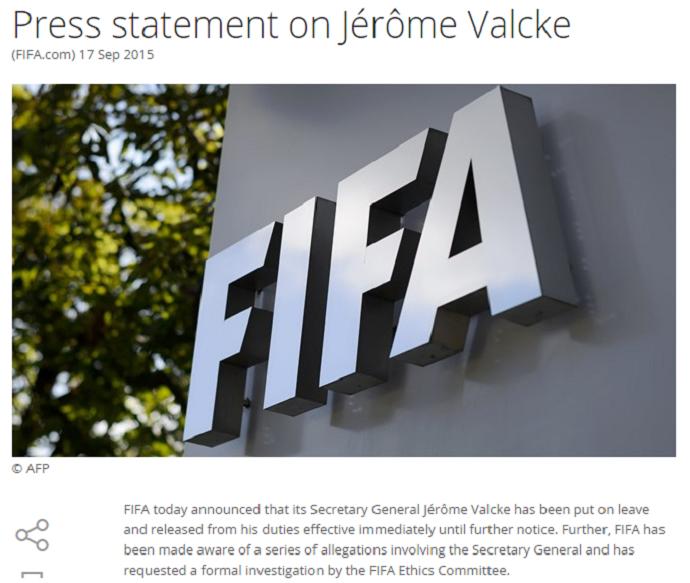 Comunicado da Fifa contra Jérôme Valcke (Foto: Reprodução / Fifa)