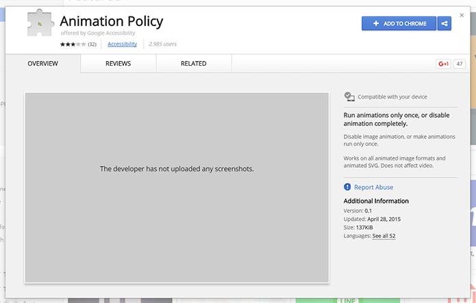Google oferece uma extensão específica para controlar animações no Chrome (Foto: Reprodução/Filipe Garrett)