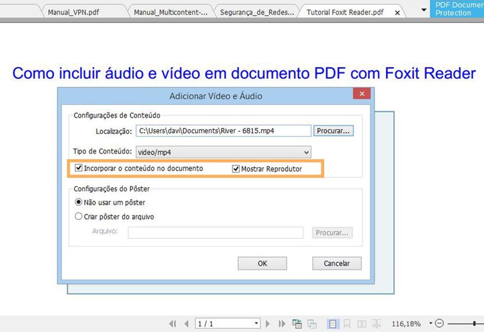 Mantenha as opções marcadas para reproduzir o arquivo adequadamente no documento  (Foto: Reprodução/ Davi de Lima)