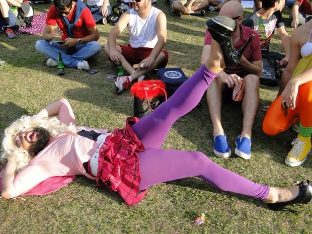 Drag queen posa durante Gaymada em Belo Horizonte (Foto: Thais Pimentel/G1)