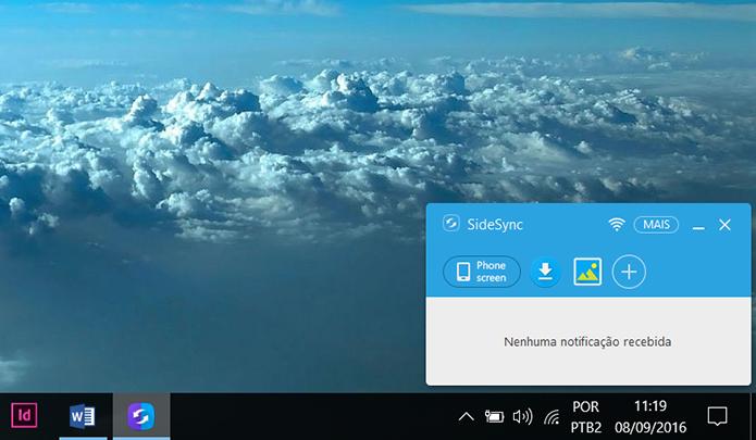 Essa tela mostra que o celular está conectado ao PC via SideSync (Foto: Reprodução/Filipe Garrett)