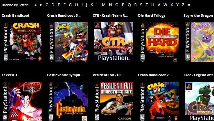 No Online Console os jogos estão separados em ordem alfabética (Foto: Reprodução/Tais Carvalho)